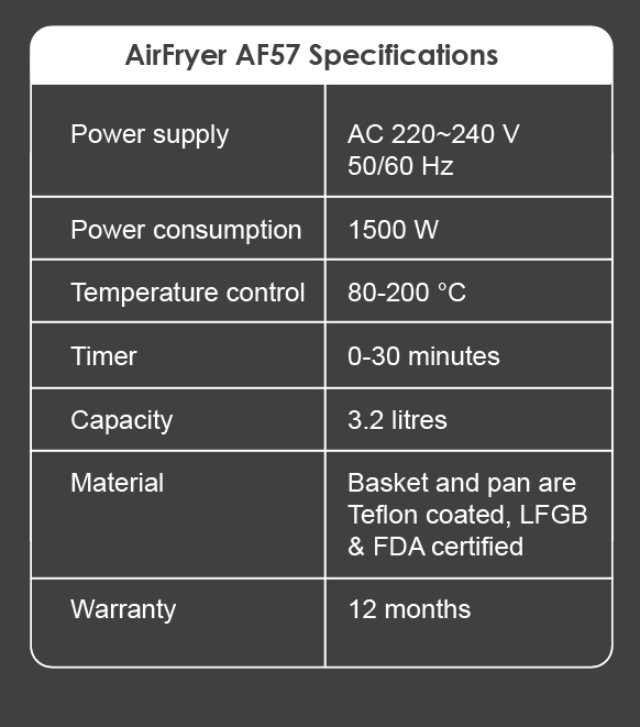 02 Specifications AirFryer